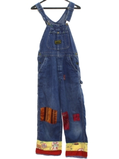 1980's Womens Denim Hippie Patchwork Overall Jeans Pants