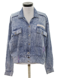 1980's Womens Totally 80s Acid Washed Denim Jacket