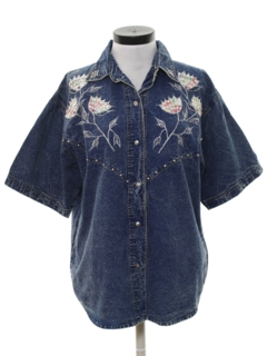 1980's Womens Totally 80s Acid Washed Shirt