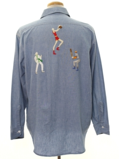 1960's Mens Hippie Chambray Work Shirt