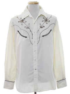 1970's Mens Embroidered Rodeo Style Western Shirt