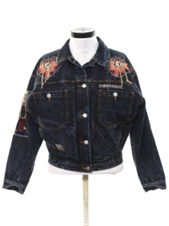 1980's Womens Designer Totally 80s Hand Embellished Western Style Denim Jacket