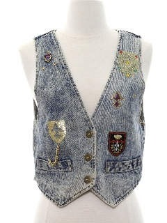 1980's Womens Totally 80s Acid Washed Denim Vest