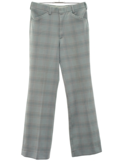 1970's Mens Flared Leisure Stye Plaid Disco Pants