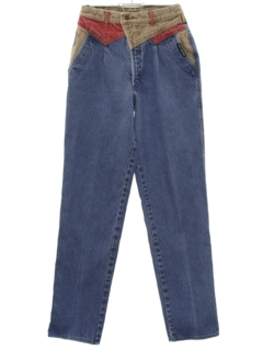 1980's Womens Totally 80s Tapered Leg Denim Jeans Pants