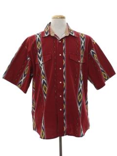 1990's Mens Geometric Print Western Shirt