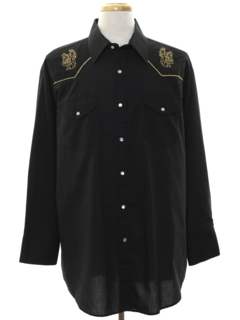 1990's Mens Rodeo Style Embroidered Western Shirt