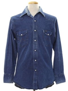 1980's Mens Denim Western Shirt