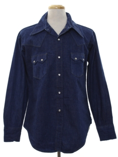 1970's Mens Denim Western Shirt