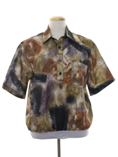 1980's Mens Totally 80s Print Resort Wear Style Shirt