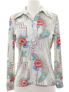 1970's Womens Pullover Print Disco Shirt