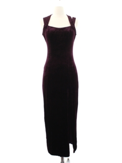 1990's Womens or Girls Velvet Prom Or Cocktail Maxi Dress
