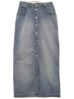 1980's Womens Totally 80s Hippie Denim Maxi Skirt