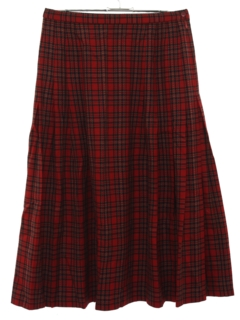 1980's Womens Wool Plaid Skirt