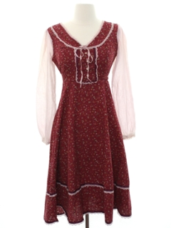 1970's Womens Prairie Style Hippie Dress