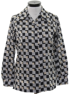 1970's Womens Mod Print Disco Shirt
