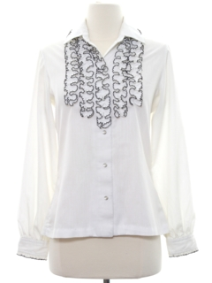 1980's Womens Ruffled Tuxedo Style Secretary Shirt