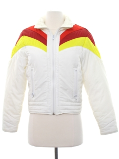 1980's Womens Totally 80s Rainbow Ski Jacket
