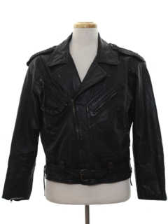 1980's Mens Designer Motorcycle Leather Jacket