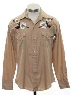 1970's Mens or Boys Hippie Style Embroidered Western Shirt
