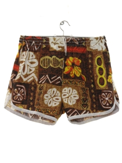 1970's Mens Mod Hawaiian Swim Shorts