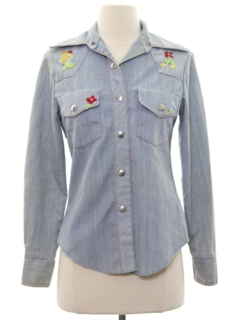 1970's Womens Chambray Hippie Shirt Jacket