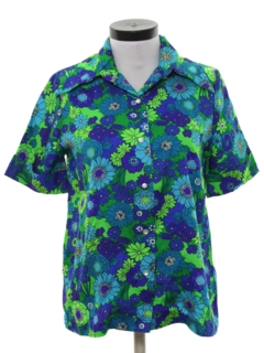 1970's Womens Mod Hawaiian Style Shirt