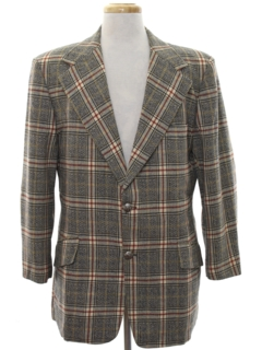 1970's Mens Plaid Disco Style Wool Blazer Sport Coat Jacket