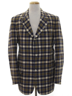 1960's Mens Mod Tartan Plaid Blazer Sport Coat Jacket