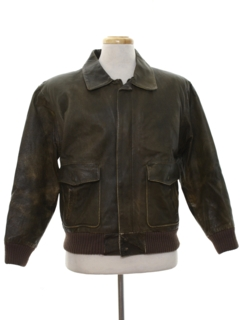 1980's Mens Bomber Leather Flight Style Jacket