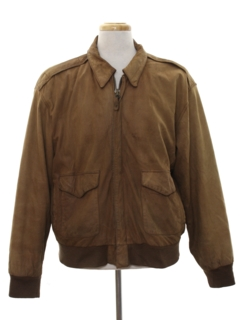 1980's Mens Bomber Suede Leather Flight Style Jacket