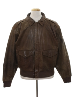 1980's Mens Totally 80s Bomber Leather Flight Style Jacket