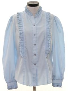 1970's Womens Ruffled Prairie Style Western Shirt