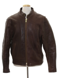 1960's Mens Mod Cafe Racer Leather Jacket