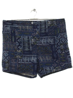 1960's Mens Mod Hawaiian Board Style Swim Shorts