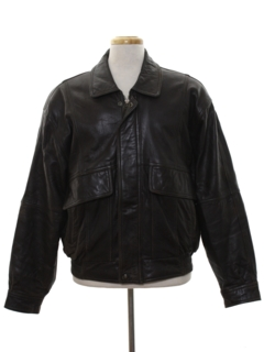 1980's Mens Totally 80s Leather Bomber Jacket