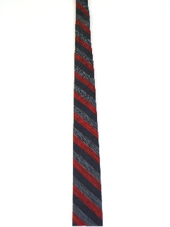 1960's Mens Skinny Diagonal Striped Flat Bottom Necktie