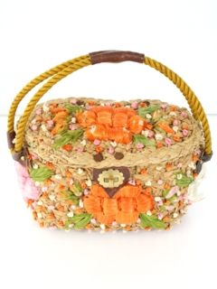 1970's Womens Accessories - Straw  Hippie Purse
