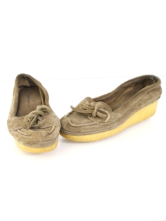 1980's Womens Accessories - Suede Wedge Shoes