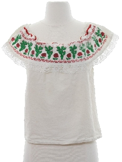 1960's Womens Huipil Style Shirt