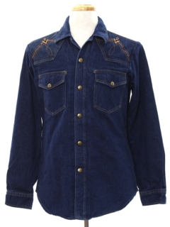1970's Mens Embroidered Rodeo Style Western Denim Shirt Jacket