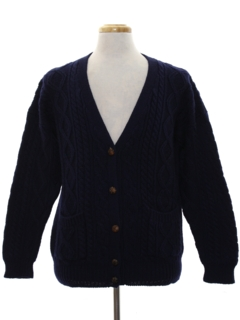 1980's Mens Wool Cardigan Sweater