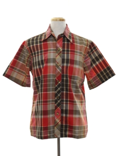 1970's Mens Plaid Print Sport Shirt