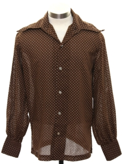 1970's Mens Subtle Print Disco Style Cotton Blend Sport Shirt
