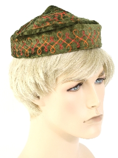1970's Unisex Accessories - Embroidered Velvet Hippie Hat