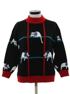 1980's Womens Totally 80s Cat Sweater