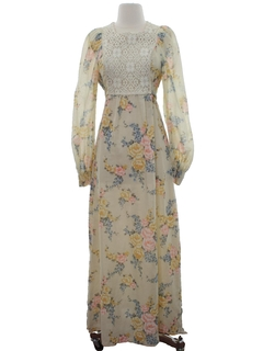 1970's Womens Maxi Hippie Prairie Dress
