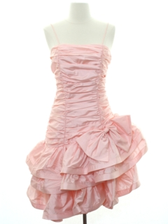 1980's Womens Totally 80s Pretty in Pink Style Prom Or Cocktail Mini Dress