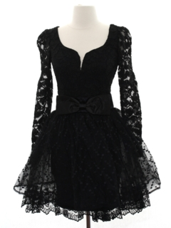 1980's Womens Designer Totally 80s Goth Style Prom Or Cocktail Dress