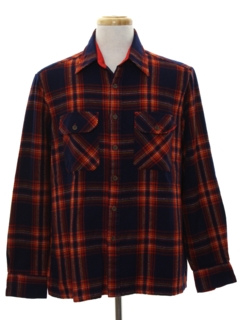 1980's Mens Plaid Flannel Sport Shirt